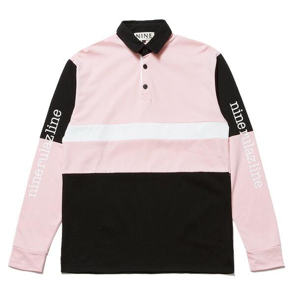 送料無料 NINE RULAZ LINE ナインルーラーズ Sports Rugby Shirt 長袖 ラグビーシャツ NRAW17-019 ブラック×ピンク