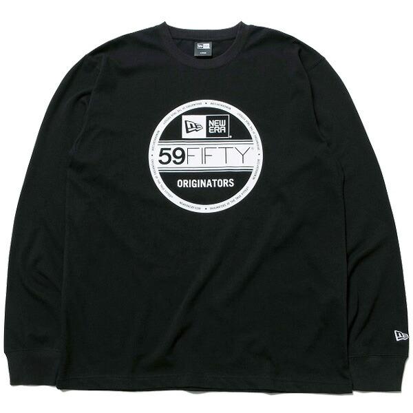 ニューエラ 長袖 コットン Tシャツ 送料無料 バイザーステッカー ロゴ NEW ERA ロンT メンズ レディース ブラック/ホワイト 11783069