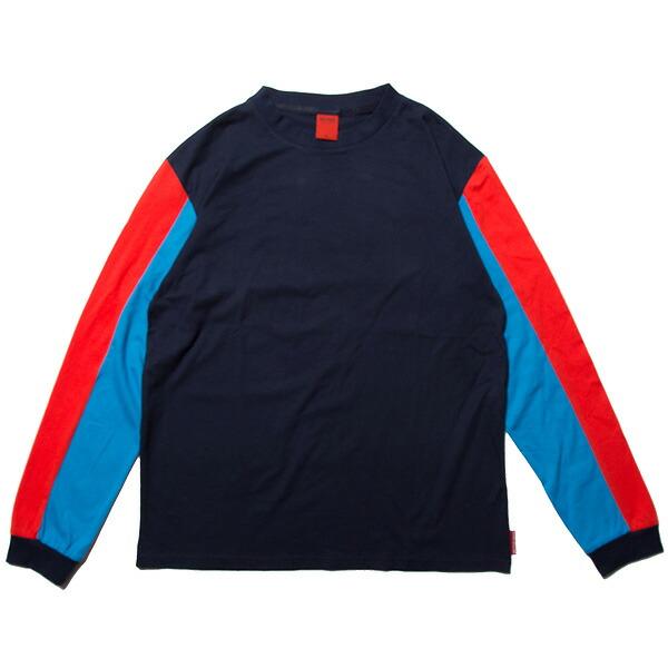 ナインルーラーズ カットソー 長袖 Tシャツ Cross Cut L/S Tee メンズ ロンT NINE RULAZ LINE NRSS18-002 ネイビー