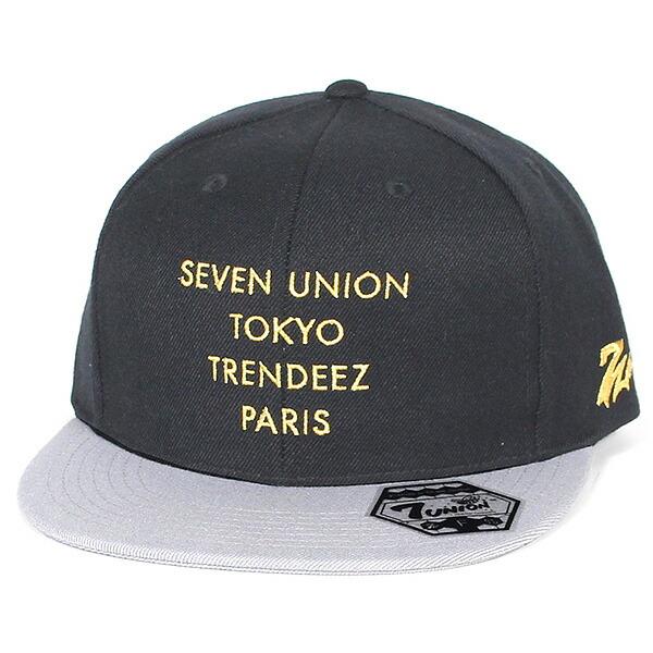 7UNION 7ユニオン Tokyo / Paris Snapback Cap ストラップバックキャップ ユニセックス 帽子 IAXY-116 ブラック×グレーバイザー