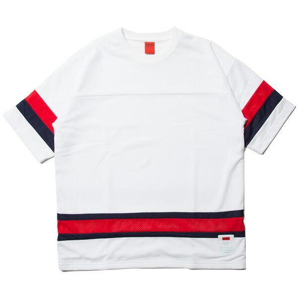 【エントリーでポイント20倍】 ナインルーラーズ Tシャツ フットボールTシャツ メッシュ 半袖 NINE RULAZ Mesh Football Tee NRSS18-022 ホワイト