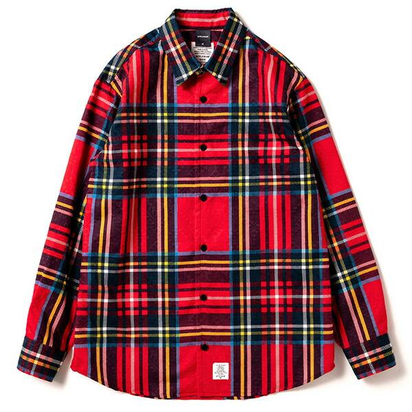 ディスカウント アップルバム APPLEBUM ジャガード織りで立体的な柄を全体的に施した長袖シャツ あす楽対応_東北 あす楽対応_関東 チェックシャツ 1820203 Check RED レッド 保障 Shirt Jacquard
