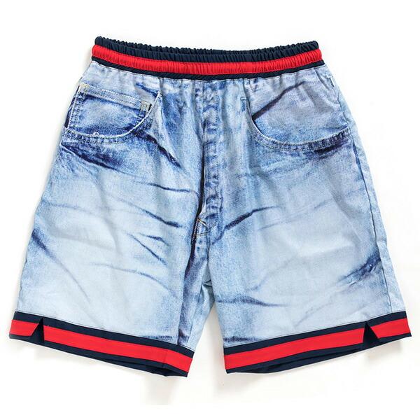 【エントリーでポイント20倍】 アップルバム ショートパンツ APPLEBUM Denim Ice Wash Basketball Shorts ショーツ バスパン デニムプリント メンズ ストリート HS1810802 ICE WASH アイスウォッシュ