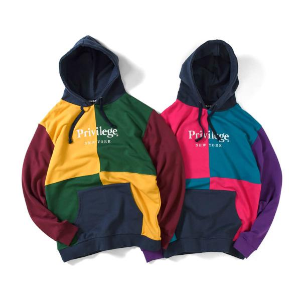 【エントリーでポイント20倍】 プリビレッジ パーカー メンズ レディース ユニセックス 送料無料 PRIVILEGE Color Block Logo Hoodie プルオーバー スウェットパーカー ストリート ブランド 全2色 M-XXL PV19AW25