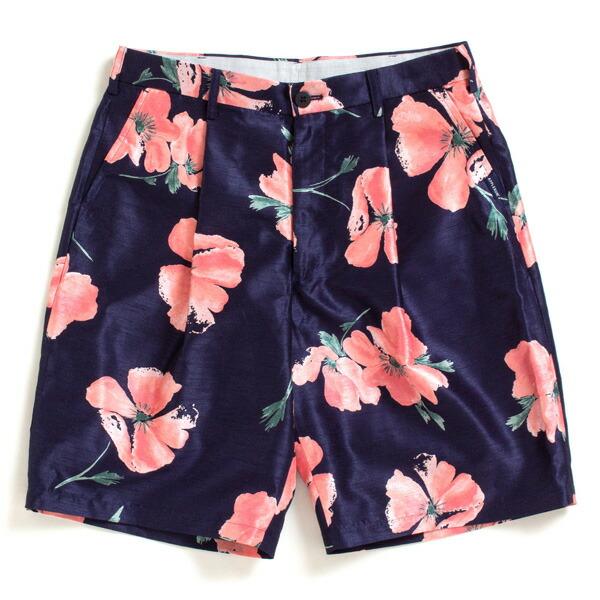 【エントリーでポイント20倍】 アップルバム パンツ メンズ APPLEBUM Flower Short Pants ショートパンツ 花柄 ネイビー M-XL 1910808