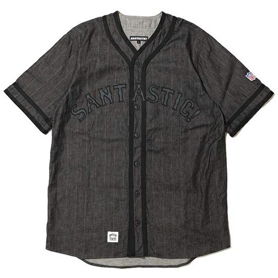 送料無料 Santastic! Wear サンタスティック! ウエア BLACK STORE 別注 デニムベースボールシャツ ブラック×グレー サンタスティック ベースボールシャツ