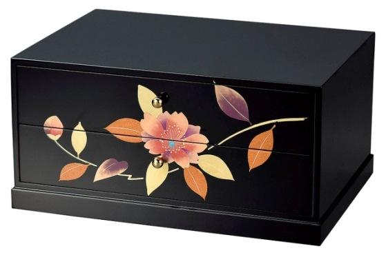 会津漆器 黒 A-4サイズ 二ツ引タンス 山茶花<プレゼント ギフト 海外土産 お祝い 敬老の日 母の日 インテリア>