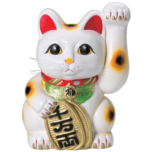常滑焼 招き猫 梅月 白手長小判猫 (左手)13号 高さ:43cm