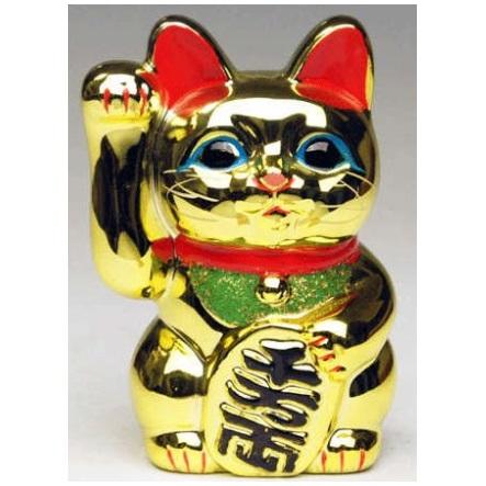 常滑焼 招き猫 梅月 黄金小判猫(右手)6号 高さ:18cm【座ぶとんは別売です】