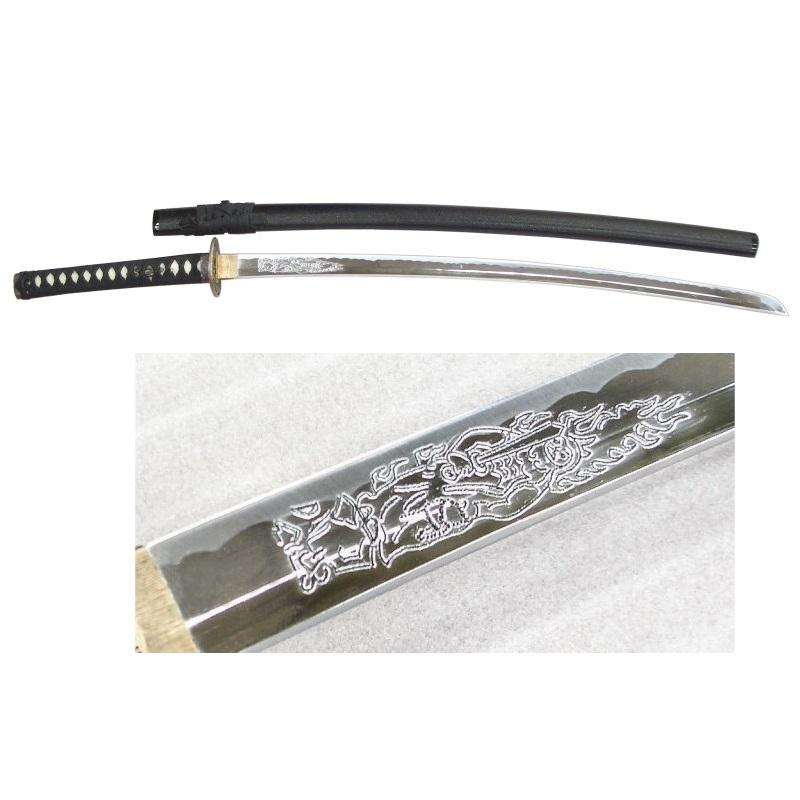 尾形刀剣 日本刀 OG-1/KR 黒石目 大刀 不動明王手彫刀身 全長104cm、刀身72cm