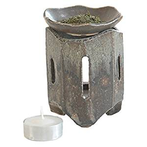 信楽焼 茶香炉 しのぎ サイズ:奥行8×幅8×高さ11cm