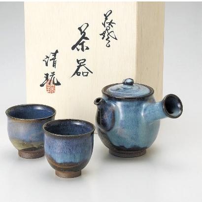 萩焼 山根清玩 萩だるま小茶器揃 急須10.5×12 碗7.5×7cm M54185150-841