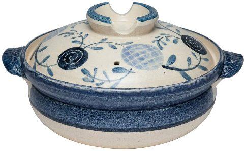 日本製萬古焼 購入 驚きの値段 IH対応 土鍋6号 容量:約1200ml 花飾り