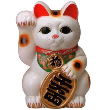 常滑焼 招き猫 梅月 白小判猫 (右手)10号高さ:33cm