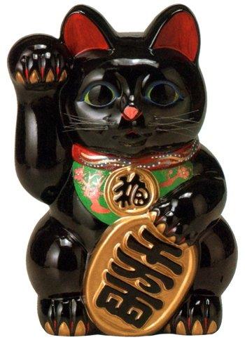 常滑焼 招き猫 梅月 黒小判猫(左手) 8号 高さ:25cm