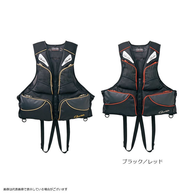【訳有り 特価】 がまかつ GM2170 フローティングベスト ブラック/レッド L