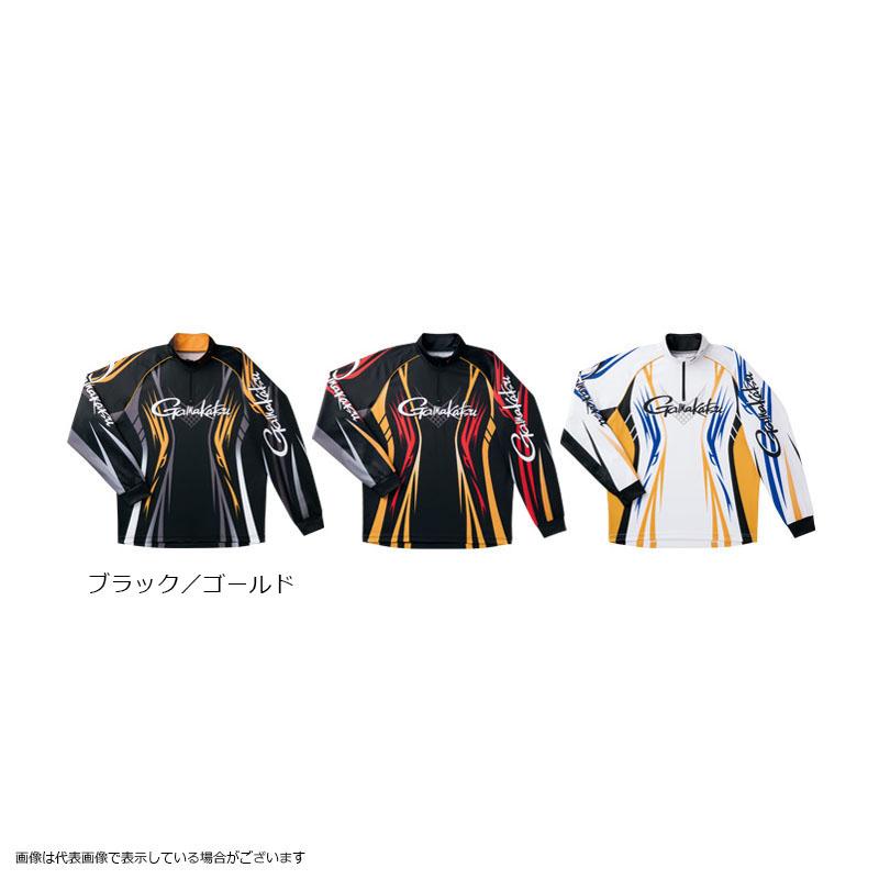 がまかつ GM3503 2WAYプリントジップシャツ(長袖) ブラック/ゴールド L