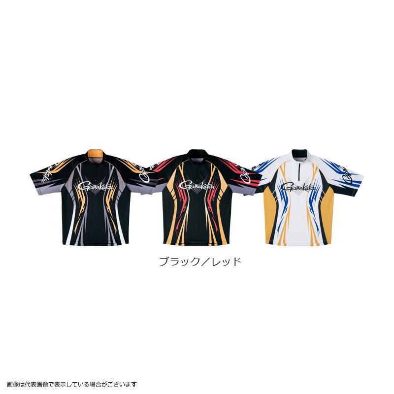 がまかつ GM3504 2WAYプリントジップシャツ(半袖) ブラック/レッド LL