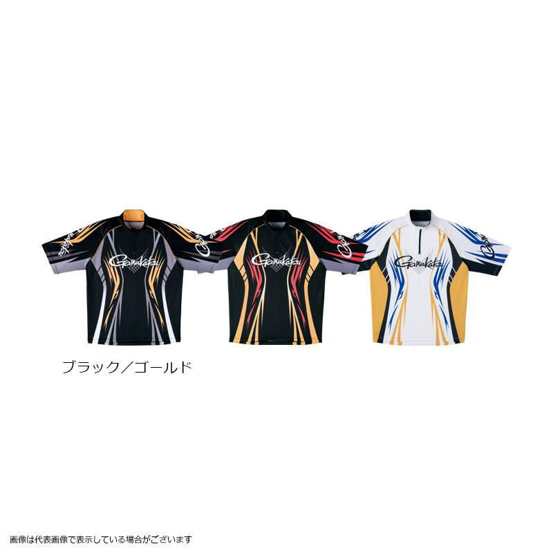 がまかつ GM3504 2WAYプリントジップシャツ(半袖) ブラック/ゴールド LL