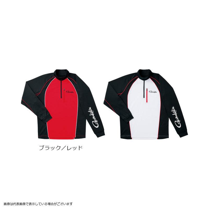 がまかつ GM3506 マイクロキュービックジップシャツ ブラック/レッド M