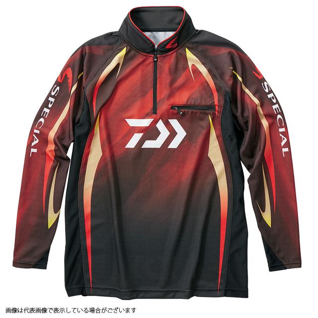 ダイワ DE-70009 スペシャル アイスドライジップアップ長袖メッシュシャツ マグマブラック M