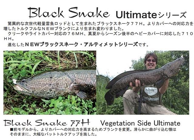 【ポイントアップ 4/1 10:00~4/8 09:59】エイムス(AIMS) ブラックスネーク(Black Snake) 77H (Vegetation Side Ultimate) ベイトモデル