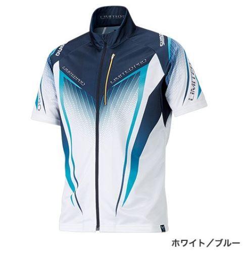(予約品) シマノ フルジップシャツ LTDプロ ホワイト/ブルー L (半袖) (3月中旬-5月発売予定) ※他商品同時注文不可