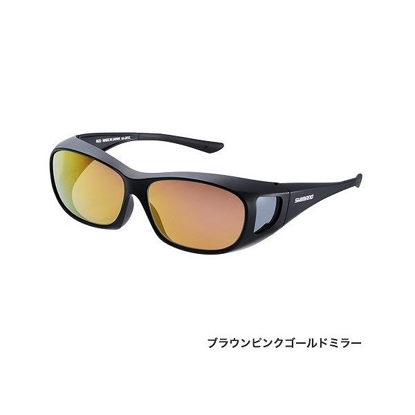 シマノ UJ-201S 偏光サングラス オーバーグラス ブラック レンズ:ブラウンピンクゴールド