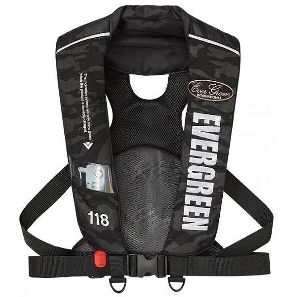 エバーグリーン インフレータブルジャケット タイプ5 EGブラックカモ 国土交通省型式承認品 【タイプA】