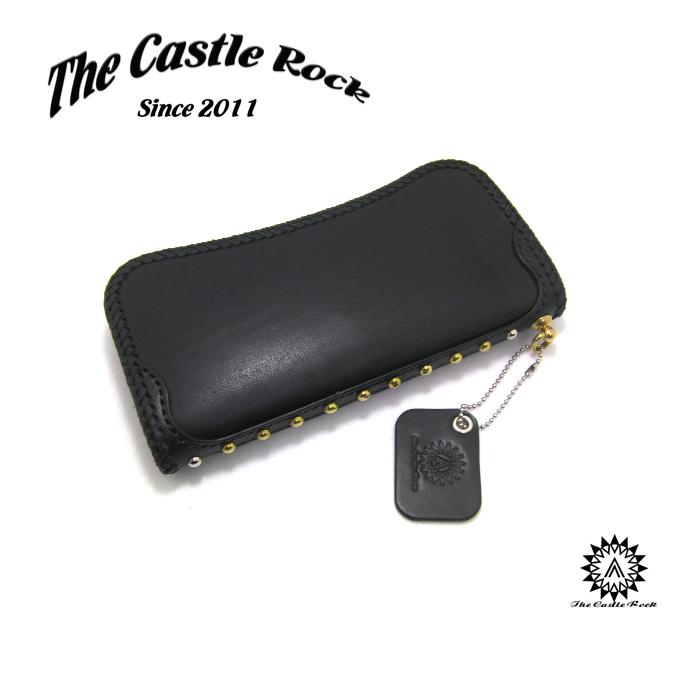 THE CASTLE ROCK キャッスルロック サイドにスタッズを施したシンプルなデザインながら必要な機能がしっかりと詰まった長財布 送料無料 名入れ可能 スタッズ 財布 栃木レザー 日本製 小銭入れ プレゼントに最適 新品 お気に入り 黒 長財布 革小物 WLS-1BK 完売 シンプル ブラック メンズ 名入れ