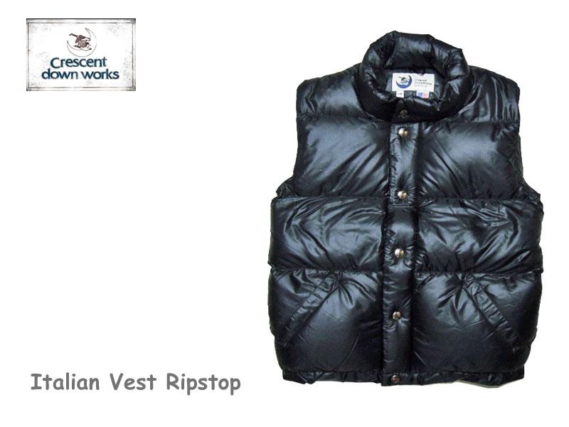 【送料無料】【Crescent Down Works】クレセントダウンワークス 201 Italian Vest Ripstop Black レディース・イタリアンベスト -Black-
