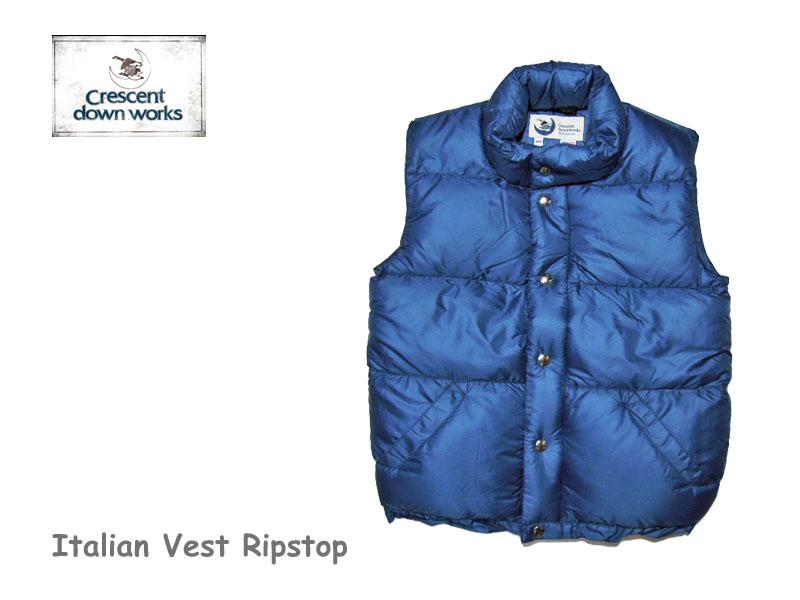 【送料無料】【Crescent Down Works】クレセントダウンワークス 201 Italian Vest Ripstop Navyblue レディース・イタリアンベスト