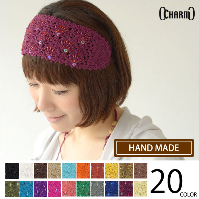 The Beads Spangle knitted Katyusha hairband from Charm. Handmade with beads and sequins handsewn into the headband.
