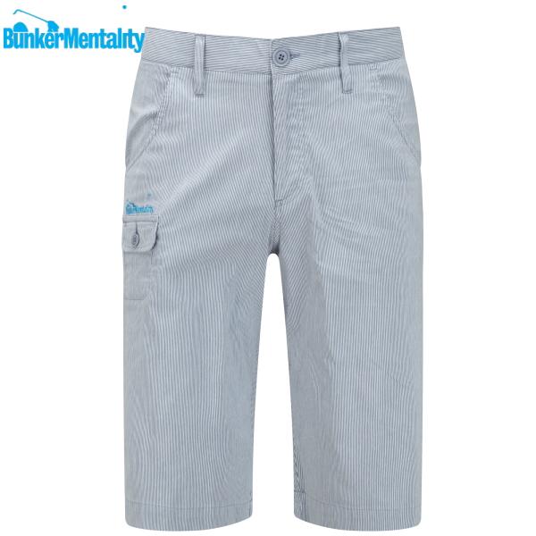 【バンカーメンタリティ】【大きいサイズ・メンズ】ゴルフウエア【XL/XXLサイズ】メンズハーフパンツ/Blue Fine Stripe Golf Short(カラー:Grey Stripe)【BunkerMentality】【10P03Dec16】