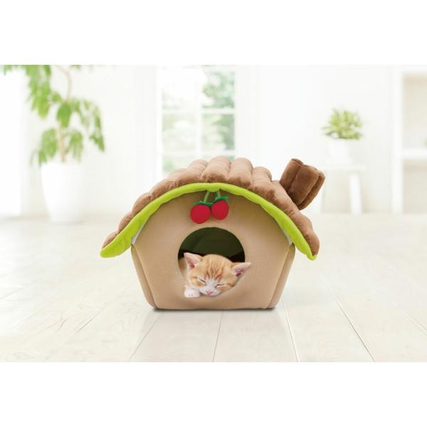 【在庫処分】にゃんこハウス ログタイプ Mサイズ P-NHL460 ブラウン ベージュ キャットハウス にゃんこハウス 猫 ベッド ねこ ハウス クッション アイリスオーヤマ] キャットランド