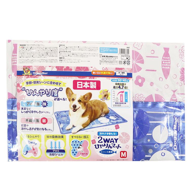【3%OFFクーポン有】2WAYひやりんマット なついろ模様 M マット 犬 猫 ベッド さらさら 自然素材 アルミ ヒンヤリ 日本製 ドギーマン 【D】 【betcp】