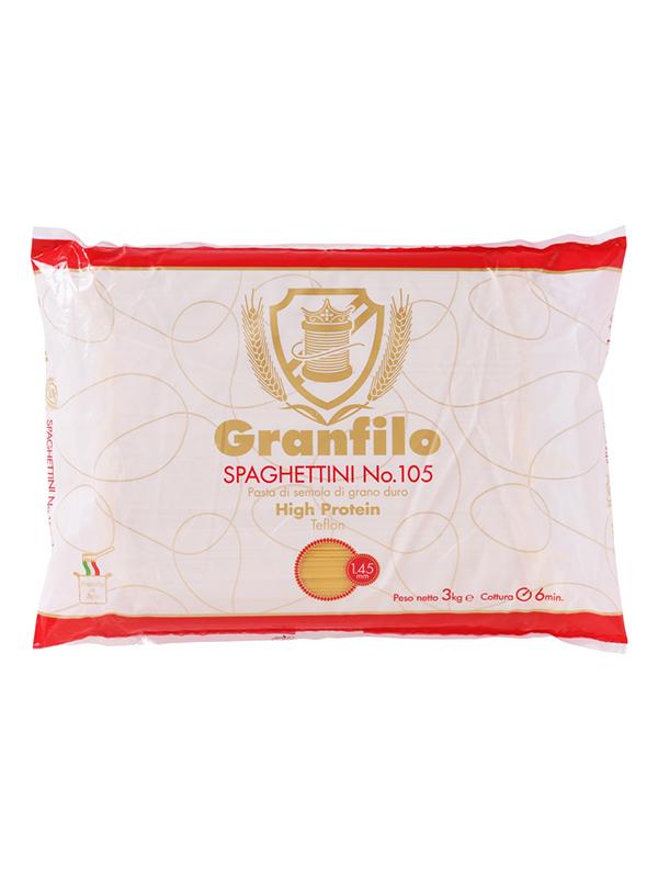 テフロンダイスで成型したスパゲッティらしく シャキッとした茹で上がりが特徴的です GRANFIRO グランフィーロ スパゲッティ ハイプロテイン 大容量 No105 3kg×5袋 1.45mm お中元 業務用 公式サイト