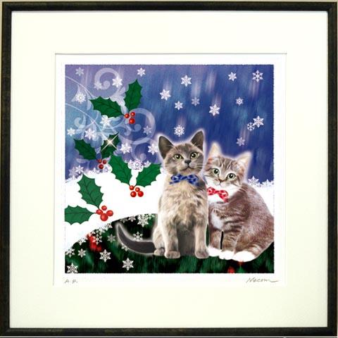 【送料無料】猫夢アート版画花と猫シリーズ「クリスマスキャット」【クリスマスギフト】