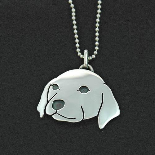 犬 シルバー ハンドメイドペンダント 「ラブ子犬」【犬アクセサリー】