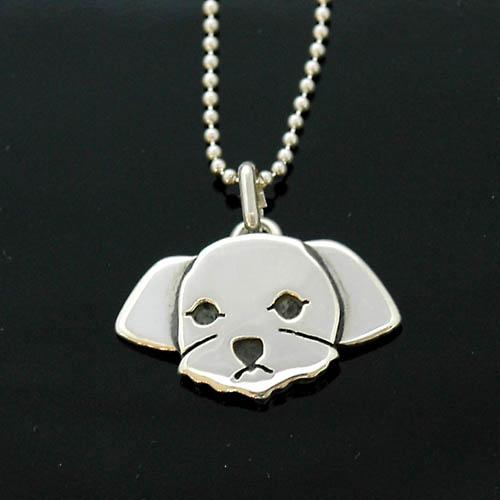 犬 シルバー ハンドメイドペンダント「マルチーズ」【犬 アクセサリー】