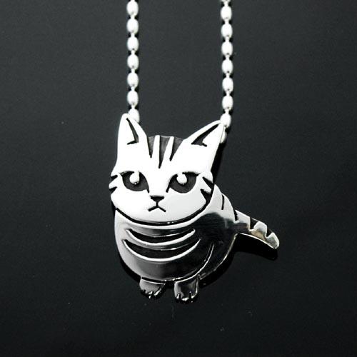 猫シルバー ハンドメイドペンダントごはんまだ?(キジ猫)【猫 アクセサリー ネックレス】