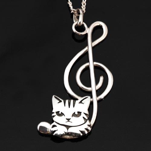 猫 シルバーペンダント シルバーアクセサリー作家 江口タツオさんのオーダーペンダント「ト音記号ハコ猫」