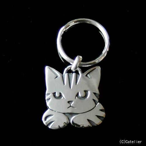 猫 シルバー ハンドメイド キーリング「ハコ猫」