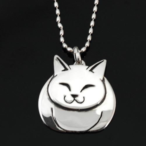 猫 シルバー ペンダント「福ねこ」(大)【猫 アクセサリー ネックレス】