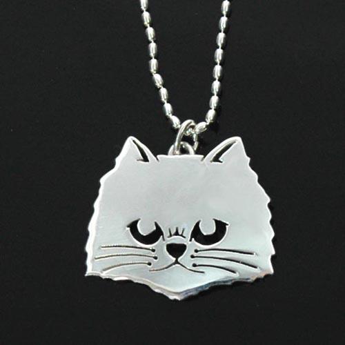 猫シルバー ハンドメイドペンダント 「ペルシャ」【猫 アクセサリー ネックレス】