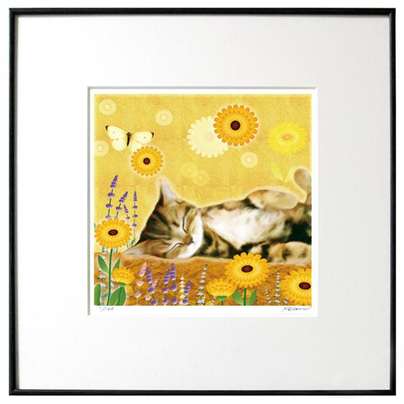 猫夢アート版画 「マリーゴールド」キジトラ【猫アート】【額 版画】【送料無料】