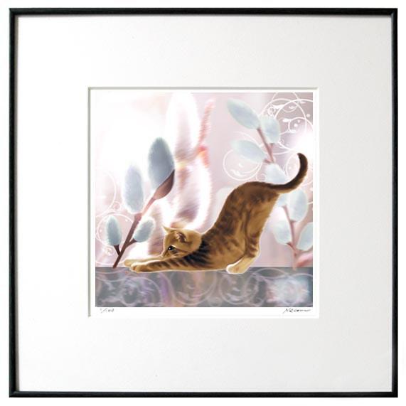 猫夢アート版画「猫柳」キジトラ【猫アート】【額 版画】【送料無料】