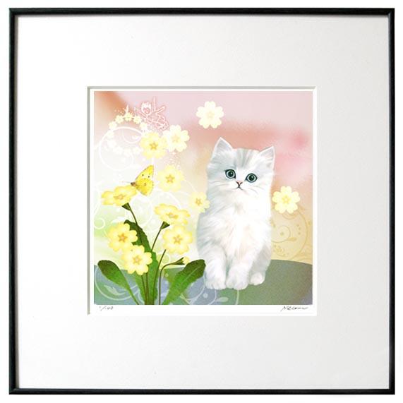 猫夢アート版画 「プリムローズ」白チンチラ長毛【猫アート】【額 版画】【送料無料】