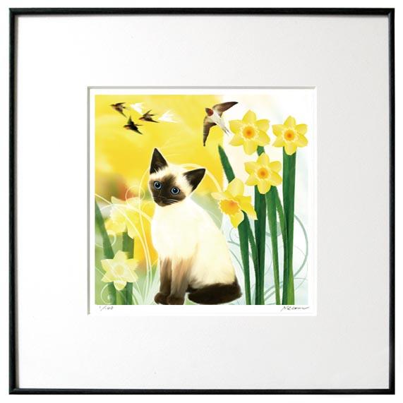 猫夢アート版画 「水仙s」シャム猫【猫アート】【額 版画】【送料無料】