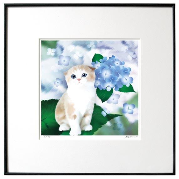 猫夢アート版画 「紫陽花」スコティッシュ 【猫アート】【額 版画】【送料無料】